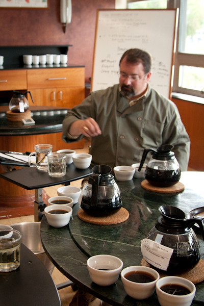 Spencer during a cupping at Coffee Analysts