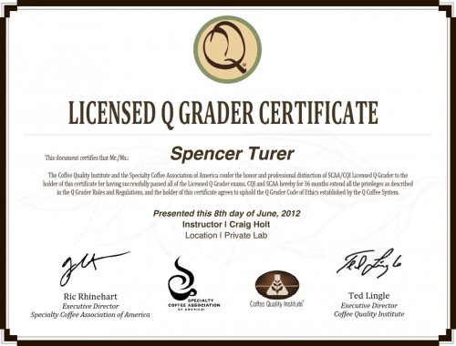 Spencer Turer earns Q-Grader License